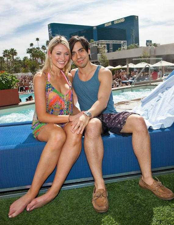 Katrina Bowden and fiance Ben Jorgensen visit Wet Republic at MGM Grand Las Vegas