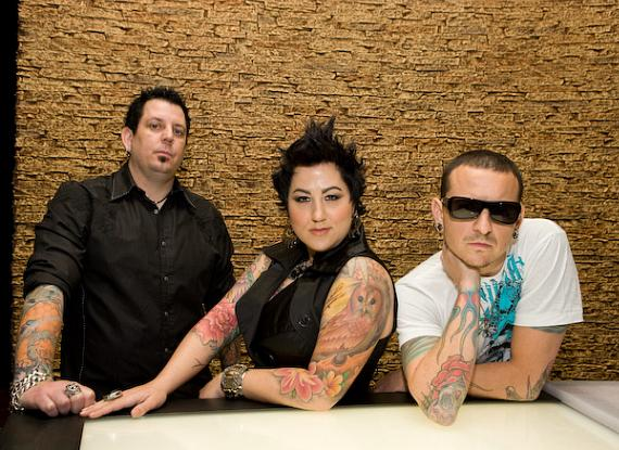 Owners Sean Dowdell, Thora Dowdell and Chester Bennington at Club Tattoo