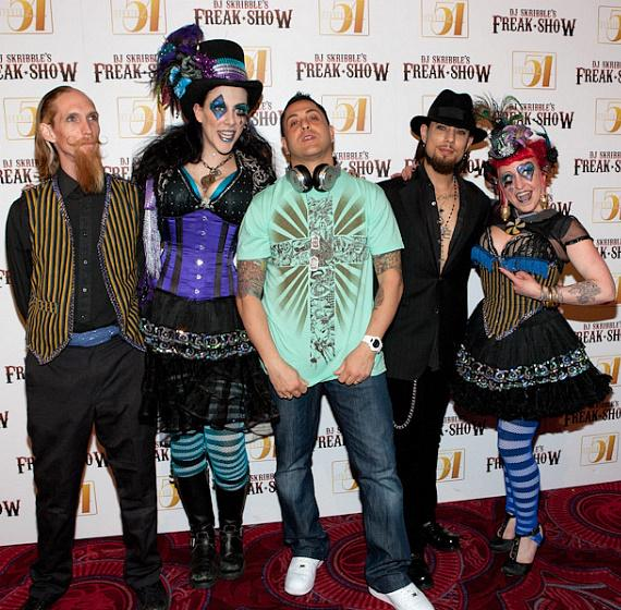 Dave Navarro and DJ Skribble at Studio 54 with Freak Show cast