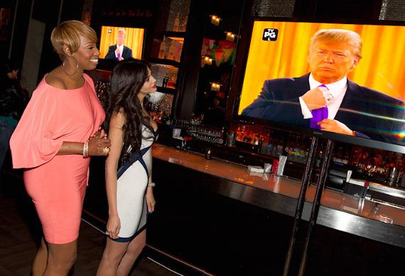 "NeNe Leakes and Hope Dworaczyk at ""The Celebrity Apprentice"" Viewing Party at Blush"