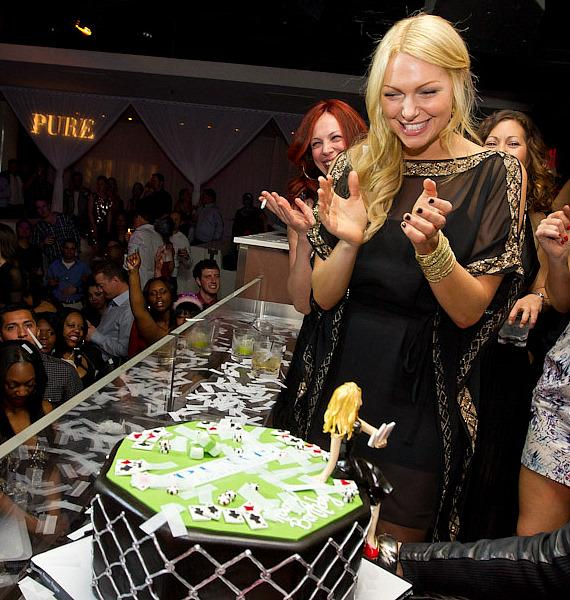 Laura Prepon with birthday cake at PURE Nightclub