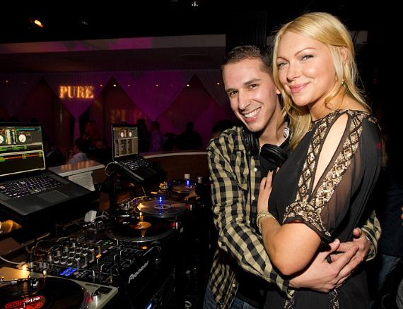 Laura Prepon with DJ D-Lux at PURE Nightclub