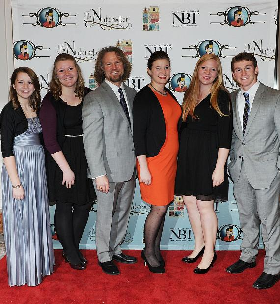 Kody Brown and children Aurora, Mariah, Mykelti, Aspyn and Logan Brown attend Opening Night of Nevada Ballet Theatre's The Nutcracker at The Smith Center