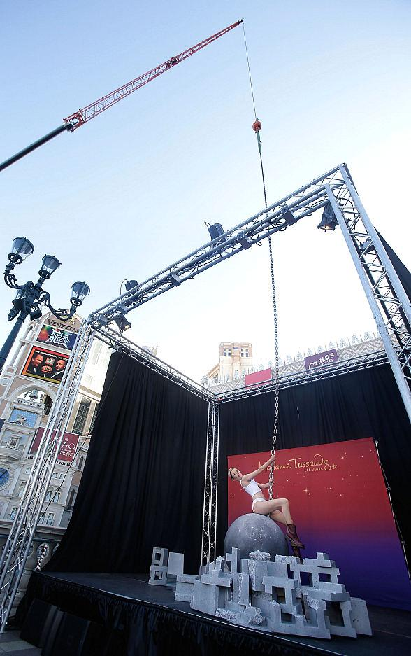 Madame Tussauds Debuts Pop Superstar Miley Cyrus' Wax Figure atop a Wrecking Ball in Front of The Venetian Las Vegas