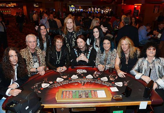 Michael T. Ross, Howard Leese, Carol-Lyn Liddle, Jay Schellen, Andrew Freeman, John Payne, Stephanie Calvert, Robin McAuley, Doug Aldrich and Paul Shortino of Raiding the Rock Vault
