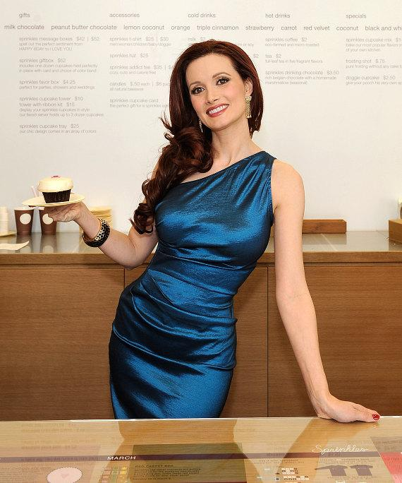 Holly Madison with a Sprinkles cupcake