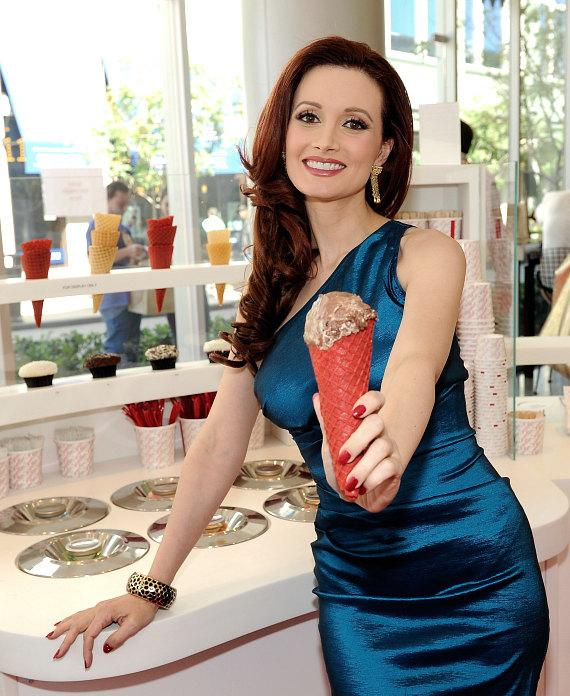 Holly Madison with Sprinkles ice cream cone