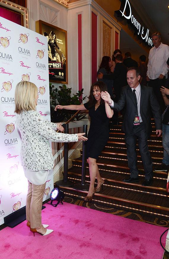 "Olivia Newton-John greets Marie Osmond at opening of ""Summer Nights"" at The Flamingo in Las Vegas"