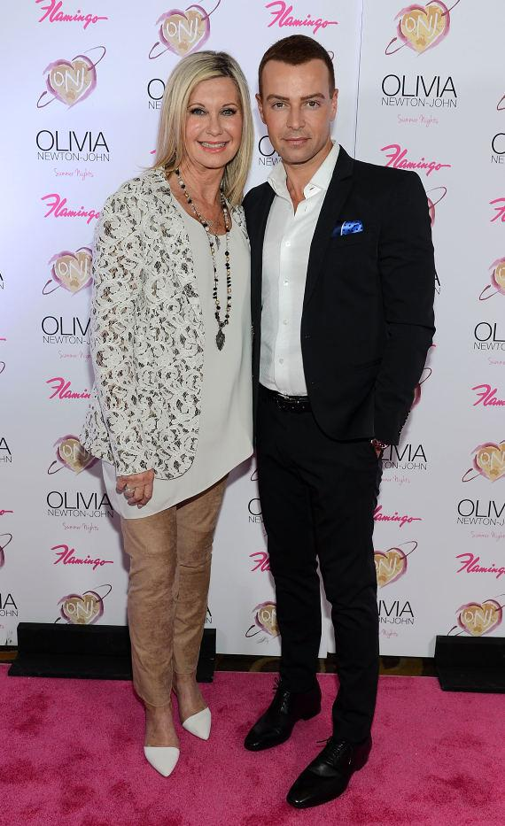 "Olivia Newton-John and Joey Lawrence at opening of ""Summer Nights"" at The Flamingo in Las Vegas"