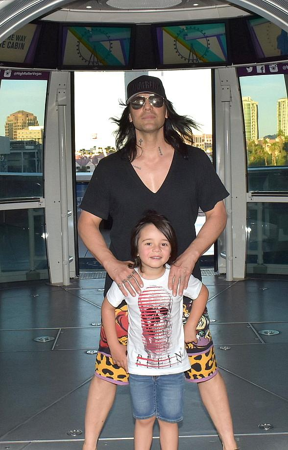 Magician Criss Angel Rides High Roller at the LINQ Promenade in Las Vegas