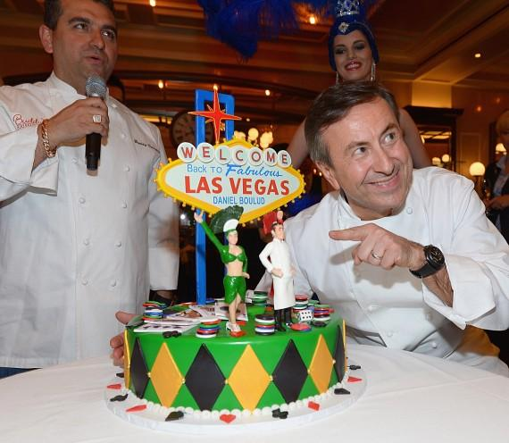 "Buddy ""The Cake Boss"" Valastro, Chef Daniel Boulud and the custom cake Buddy made"