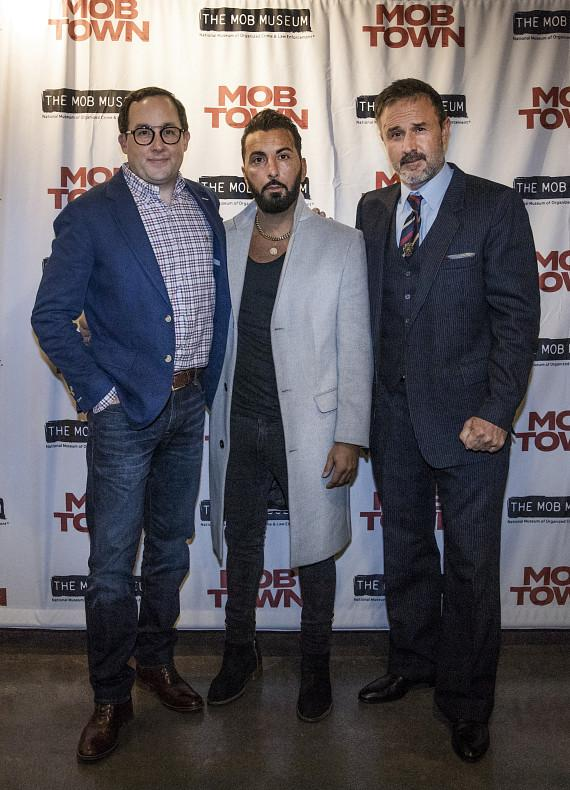 """P.J. Byrne, Danny A. Abeckaser and David Arquette at the """"Mob Town"""" Premiere at The Mob Museum"""