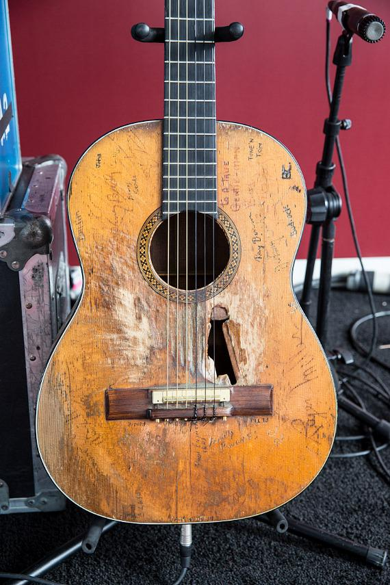 "Willie Nelson's famous Martin N-20 guitar. Willie named this guitar ""Trigger""."