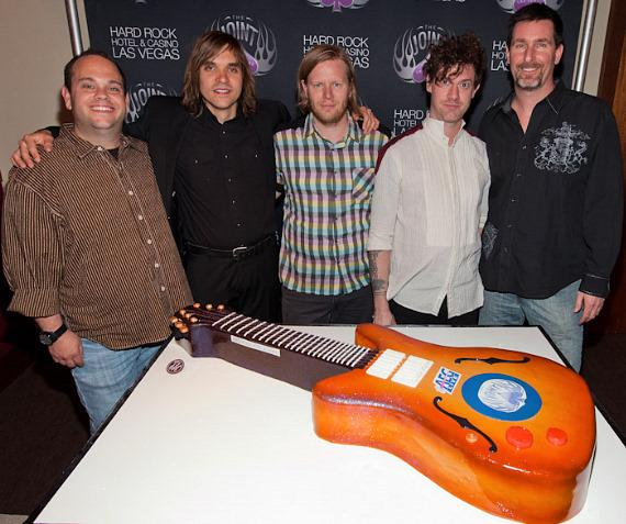 Bobby Reynolds, vice president of booking at AEG Live, Las Vegas, William Butler of Arcade Fire, Tim Kingsbury of Arcade Fire, Jeremy Gara of Arcade Fire and Paul Davis, vice president of entertainment at Hard Rock Hotel & Casino