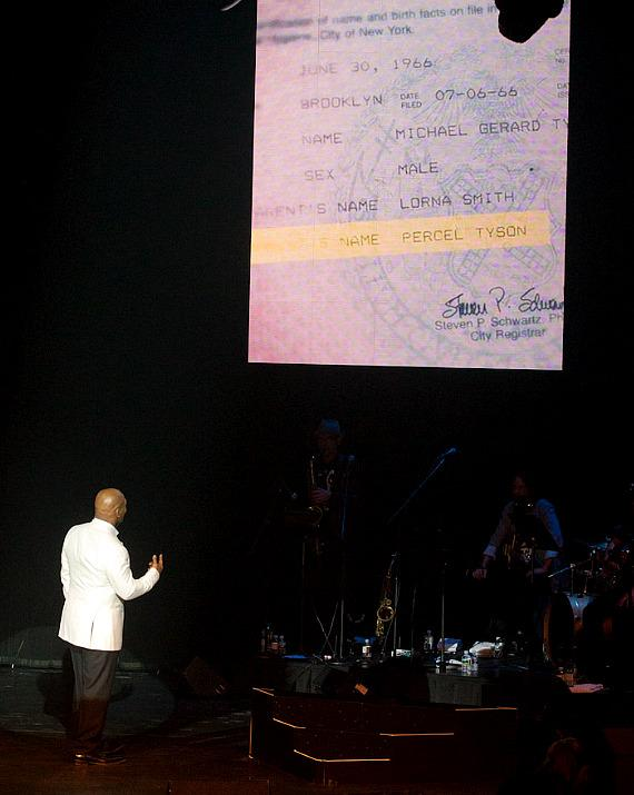 """Mike Tyson with an old note with the name """"Percel Tyson"""" (one of his mother's former husband) during his """"Undisputed Truth"""" show in Las Vegas"""
