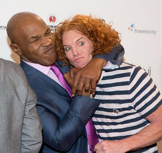 Mike Tyson clowns around with Carrot Top