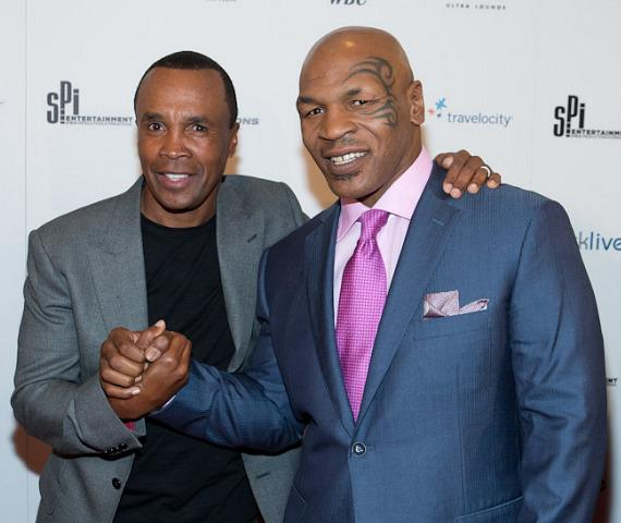 Retired boxer Sugar Ray Leonard with Mike Tyson