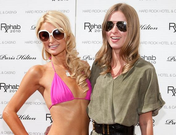 Paris and Nicky Hilton at Rehab at Hard Rock Hotel & Casino