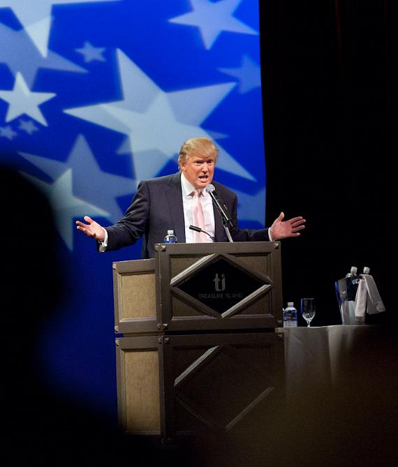 Donald Trump speaks at Treasure Island in Las Vegas