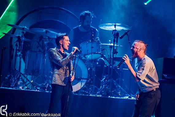The Killers Lead singer Brandon Flowers with Dan Reynolds of Imagine Dragons