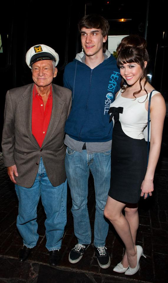 Hugh Hefner, son Marston and Claire Sinclair (Playmate of the Year 2011)