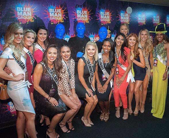 Miss USA Contestants Attend Blue Man Group at Luxor Hotel and Casino