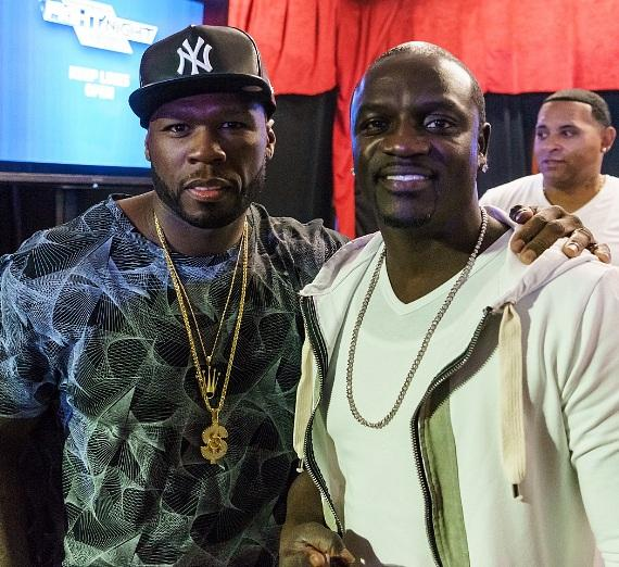 50 Cent, Derek Stevens and Nicole Parthum at ringside