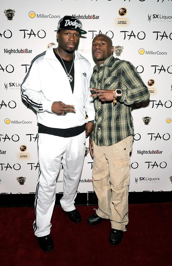 50 Cent and Floyd Mayweather Jr. at TAO Nightclub in Las Vegas