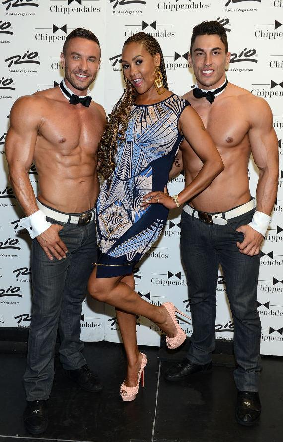 Vivica Fox with Chippendales dancers at The Rio All-Suite Hotel and Casino in Las Vegas