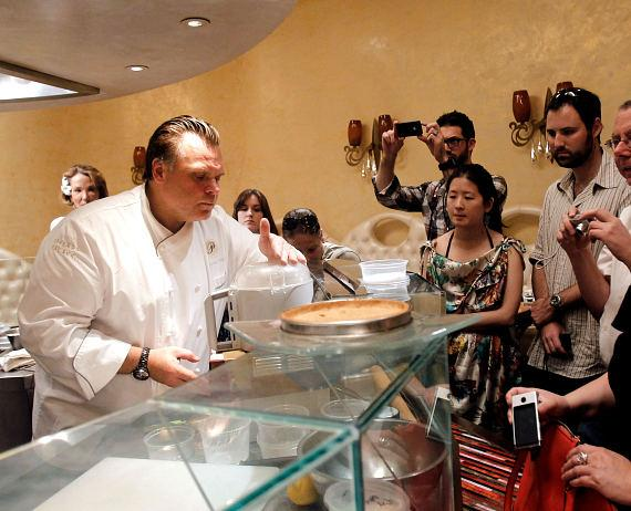 Guests watch Francois Payard serve up some of his delectable desserts at Payard Patisserie & Bistro at Caesars Palace