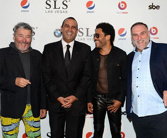 Creative Director at SLS Las Vegas, Philippe Starck, Founder, Chairman and CEO of sbe, Sam Nazarian, musician Lenny Kravitz and culinary director at SLS Las Vegas, Jose Andres attend the SLS Las Vegas grand opening celebration