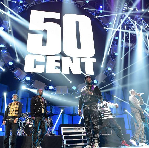 Rappers Tony Yayo, 50 Cent, Young Buck and Lloyd Banks of G Unit perform onstage during the 2014 iHeartRadio Music Festival at the MGM Grand Garden Arena