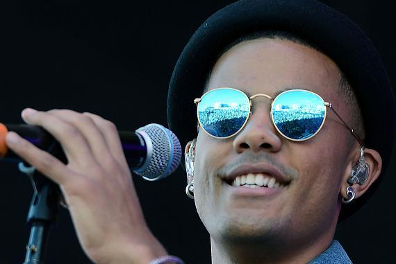 Musician Nicolas Sereba of Nico & Vinz performs onstage during the 2014 iHeartRadio Music Festival Village