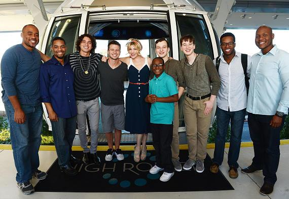 Micah Christian, Cordero Rodriguez, Miguel Dakota, Matt Franco, Emily West, Quintavious Johnson, Emil Liakhovetski, Dariel Liakhovetski, Kendall Ramseur and Mason Morton from 'America's Got Talent' Season 9 ride the High Roller, the world's tallest observation wheel, at the LINQ