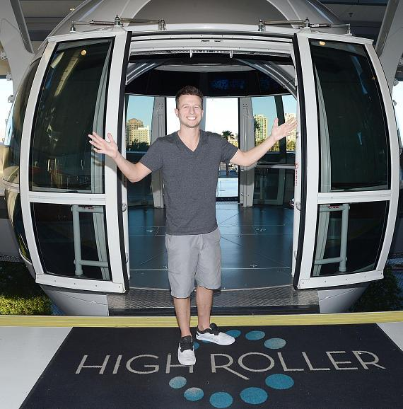 """America's Got Talent"" Season 9 winner magician Mat Franco poses in front of the Las Vegas High Roller"