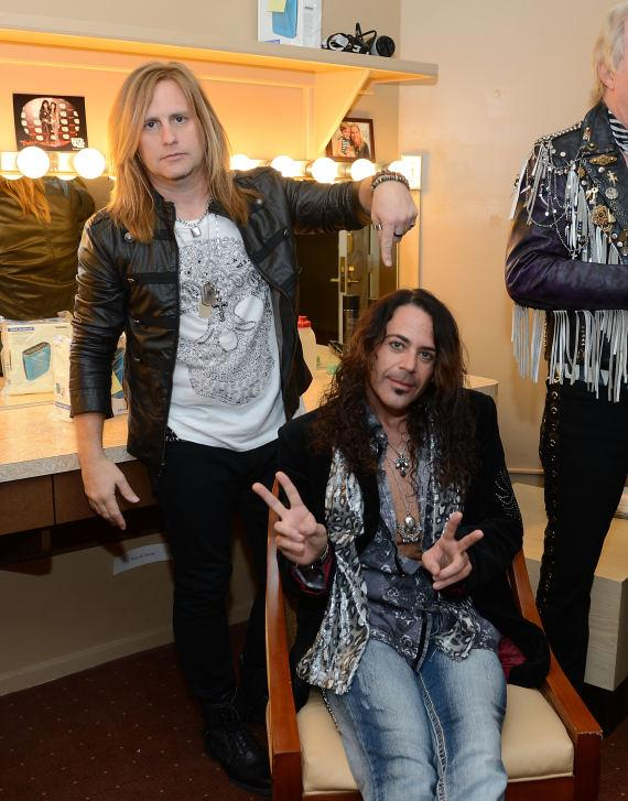 Andrew Freeman and Michael T. Ross backstage at 'Raiding The Rock Vault' at its new venue, The Tropicana Las Vegas
