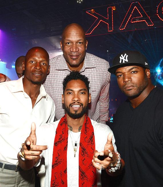 Ray Allen, Miguel, Ron Harper and Dwight Freeney 1 OAK Nightclub at the Mirage on March 13, 2015 in Las Vegas, Nevada
