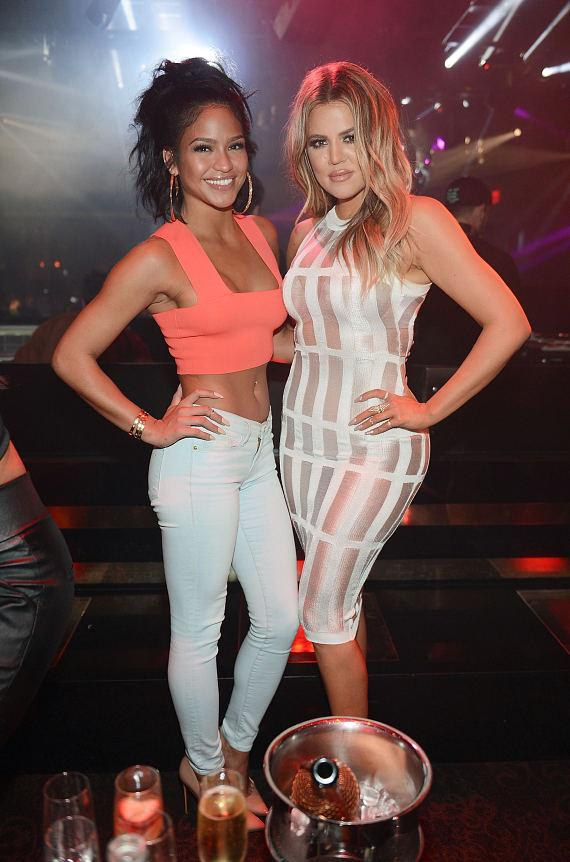 Cassie and Khloe Kardashian at 1 OAK Nightclub in Las Vegas