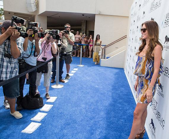 Audrina Patridge with photographers on the blue carpet at Wet Republic