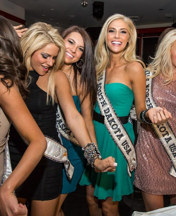 Miss USA contestants dance at Martorano's Restaurant in Las Vegas