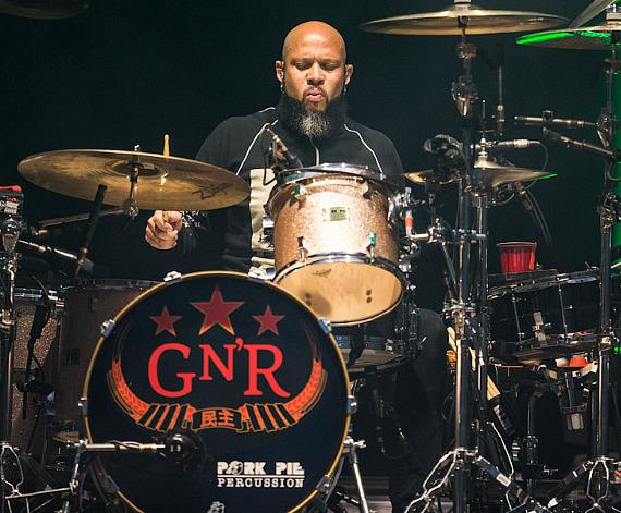 Drummer Frank Ferrer performs with Guns N' Roses at The Joint