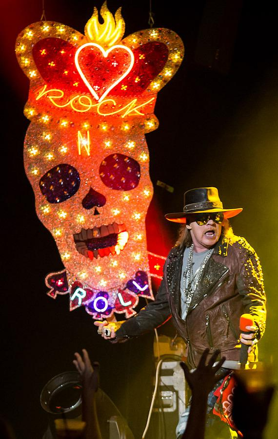 Singer Axl Rose performs with Guns N' Roses at The Joint in Hard Rock Las Vegas