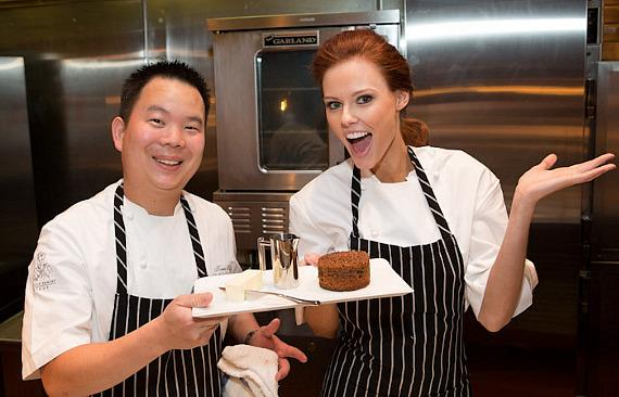 Miss USA Alyssa Campanella cooks under the direction of Chef de Cuisine Kevin Hee