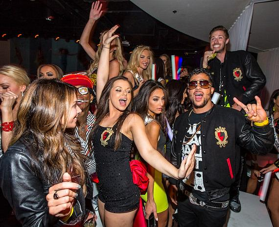 Sky Blu with guests at PURE Nightclub in Las Vegas