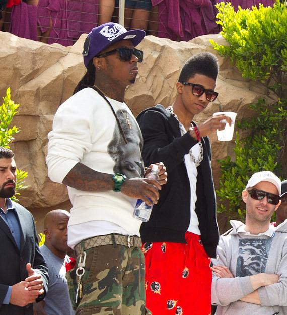 Lil Wayne with Drake's younger brother at Rehab at Hard Rock Hotel in Las Vegas