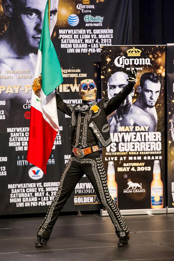 A skeleton-masked Guerrero supporter