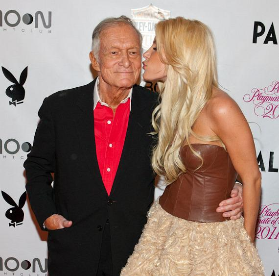 Hugh Hefner and fiancée Crystal Harris