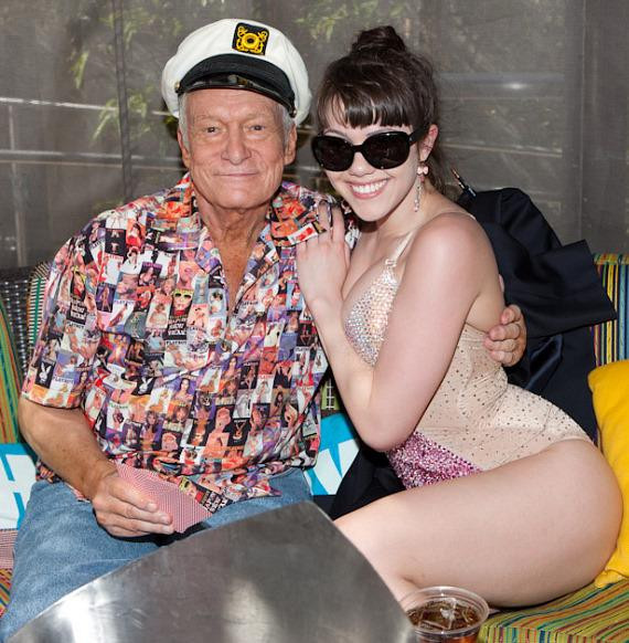 Hugh Hefner and Claire Sinclair at Palms Pool & Bungalows