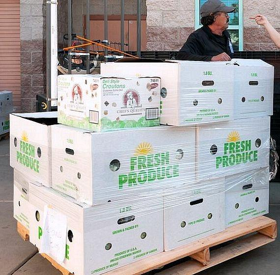 Cases of fresh Evercress produce were delivered to Catholic Charities of Southern Nevada