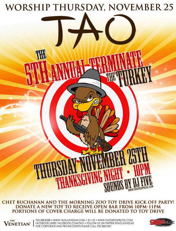 Terminate The Turkey at TAO for the Official Chet Buchanan and KLUC Morning Zoo Toy Drive Kick Off Party Nov. 25